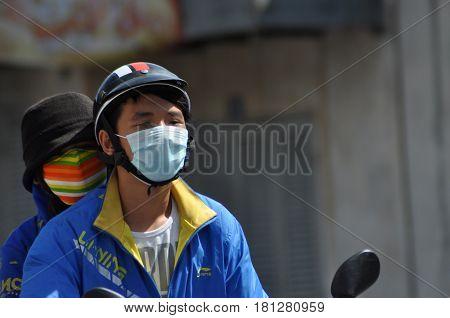 Scooter Traffic In Vietnam