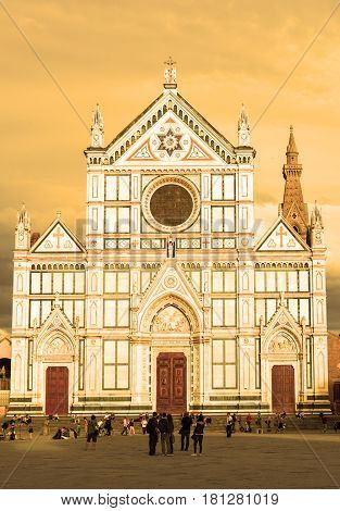 FLORENCE, ITALY - MAY 11, 2014: The Basilica di Santa Croce (Basilica of the Holy Cross) at sunset. The Basilica is the largest Franciscan church in the world.