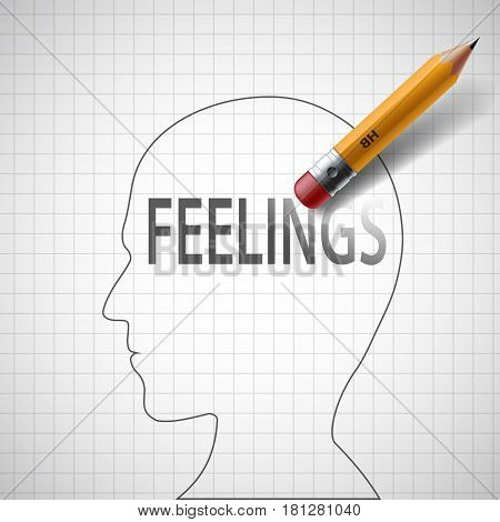 Pencil drawing in human head the word feeling. Stock vector illustration.