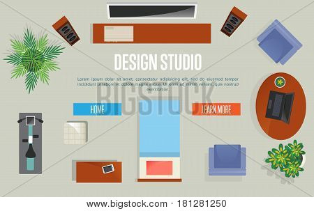 Design studio concept with top view apartment vector illustration. Living room with armchair, table, exercise bike, home cinema. Contemporary studio apartments architectural plan, creative project