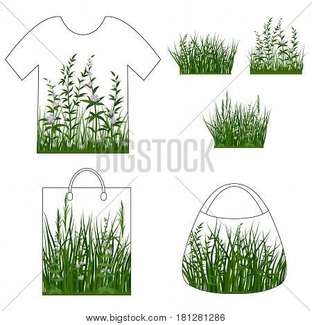 Set of Summer and Spring Landscape Elements, Green Grass and Lilac Flowers, Isolated on White Background, Presented in Tank Top, Shopping Bag and Handbag. Vector
