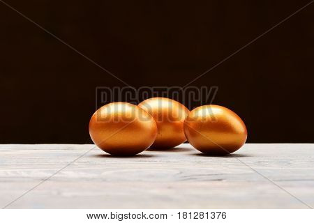 Traditional Egg Painted In Golden Metallic Color