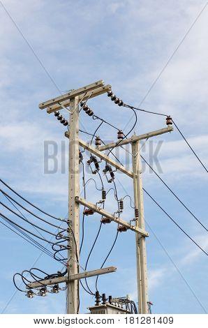 high voltage post High-voltage tower sky background.