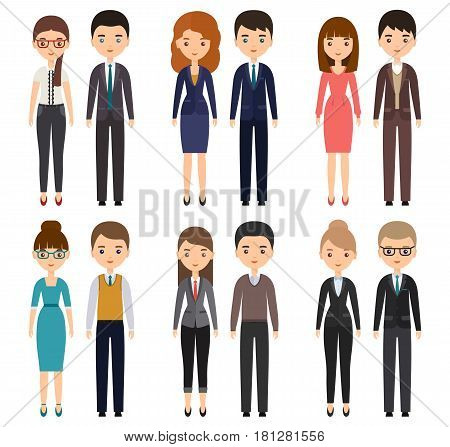 Characters flat office workers. Vector business men and business women employees. Cartoon people isolated on white background.
