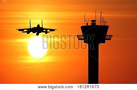 flight tower and jetfighter on the sunset background