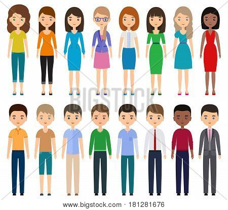 Characters flat people. Vector young men women in casual and business clothes standing together. Cartoon female male isolated on white background.