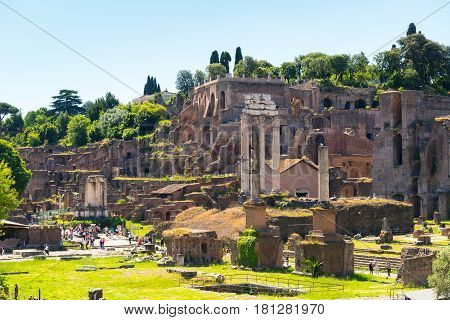 ROME, ITALY - MAY 10, 2014: The ruins of the Roman Forum. The Roman Forum is an important monument of antiquity and is one of the main tourist attractions of Rome.
