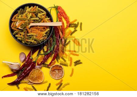 Colorful Dried Fusilli Pasta For Cooking