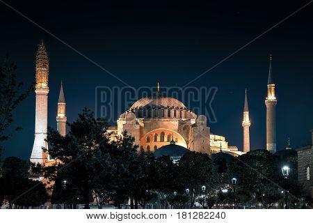 View of the Hagia Sophia (Ayasofya) at night in Istanbul, Turkey
