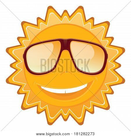 Summer sun in sunglasses and a smile. Vector Illustration.