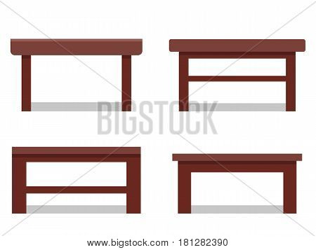 Coffee tables in flat design. Vector icon. Furniture for cartoon living room.
