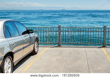 A car on the embankment. The Sea of Marmara, Istanbul, Turkey.