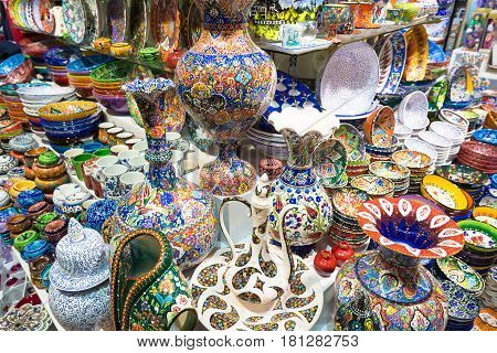 ISTANBUL - MAY 27, 2013: Turkish ceramics in the Grand Bazaar, in Istanbul, Turkey. The Grand Bazaar is the oldest and the largest covered market in the world with 61 covered streets.