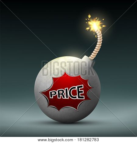Bomb with a wick and word price. Sale and Black Friday. Stock vector illustration.