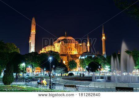 View of the Hagia Sophia at night in Istanbul, Turkey. Hagia Sophia is the greatest monument of Byzantine Culture.