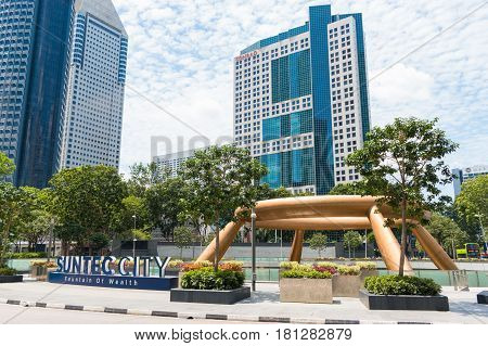 Singapore - Mar 21, 2017 : Bottom View Of Fountain Of Wealth At Suntect City. Suntec City Is The Lar
