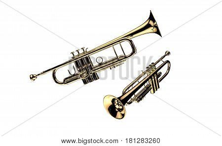 trumpet isolated on white background 3d render