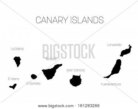 Map of Canary Islands, Spain, with labels of each island - El Hierro, La Palma, La Gomera, Tenerife, Gran Canaria, Fuerteventura and Lanzarote. Black vector silhouette on white background.