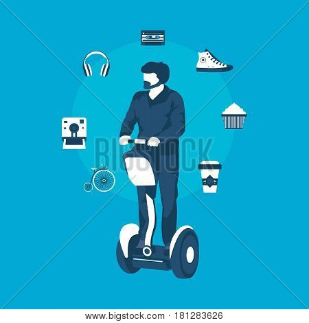 hipster on the Segway in vector format