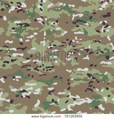 Multicam Camouflage seamless patterns. Military background and texture. Vector Illustration.