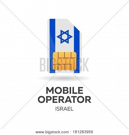 Israel Mobile Operator. Sim Card With Flag. Vector Illustration.