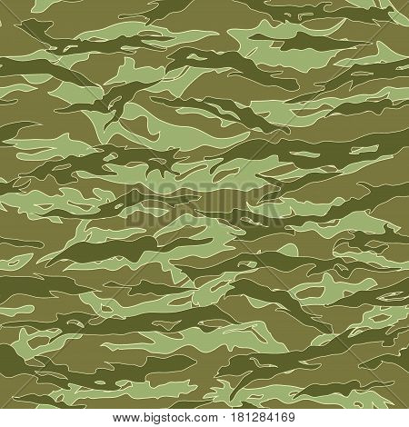 Jungle Tiger stripe Camouflage seamless patterns. Vector Illustration.