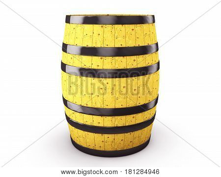 Wine whiskey rum beer barrel isolated on a white background. 3d illustration high resolution
