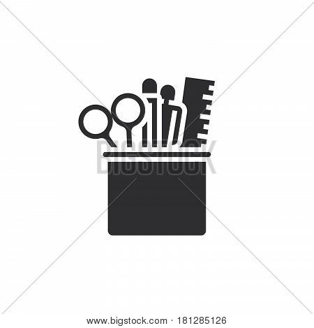 Pencil Cup With Stationary Icon Vector, Solid Logo, Pictogram Isolated On White, Pixel Perfect Illus