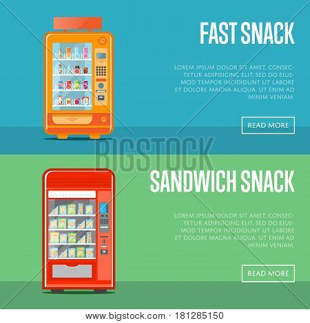 Automatic vending machine flyers set vector illustration. Hot dog, sandwich, burger, chips packaging, fast snack, drink, fast food retail. Automatic seller front view with full shelves advertisement