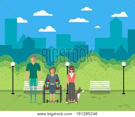 Disabled people in city life vector illustration. Young woman on wheelchair, disabled man with prosthetic legs, blind girl with service dog in park. Healthcare assistance and accessibility concept