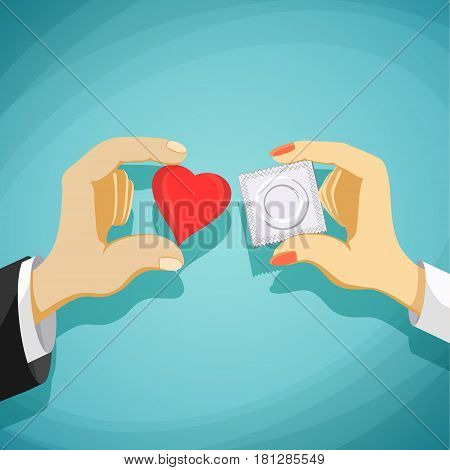 Relationship between man and a woman. Prevention of AIDS and pregnancy. Stock Vector cartoon illustration.