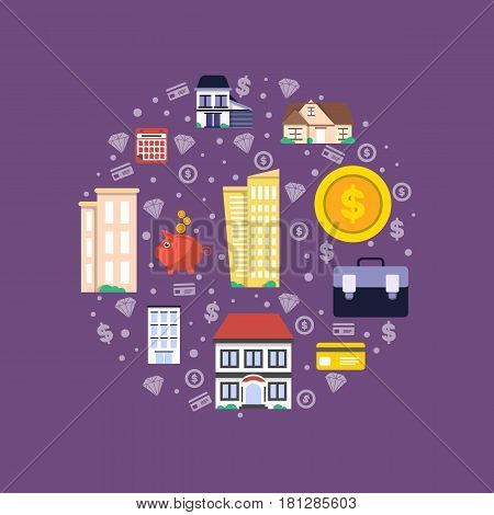 Investment in real estate vector illustration. Design concept for property investment, buying and renting commercial building, property management and development, financial analysis and planning