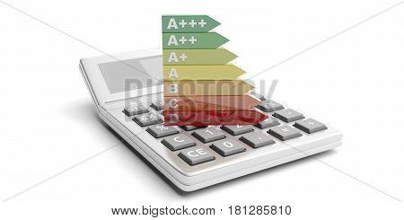 Energy Efficiency Rating And Calculator On White Background. 3D Illustration