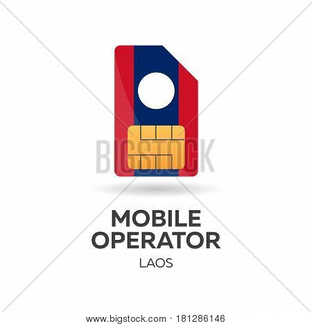 Laos Mobile Operator. Sim Card With Flag. Vector Illustration.