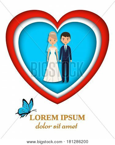 Bride and groom in paper art style wedding card or invitation. Vector flat people characters. Cartoon couple newlyweds. Woman in white dress and man in suits. Icons male female.