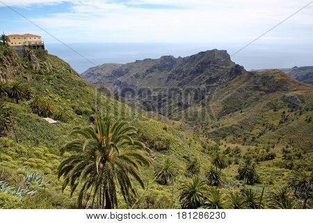 LA GOMERA, SPAIN: View of mountainous landscape from the Mirador Degollada de Peraza