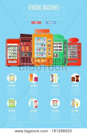 Automatic vending machine set vector illustration. Cold drink can, snack, chips packaging, hot dog, sandwich, ice cream, fast food retail. Automatic seller front view with full shelves advertisement