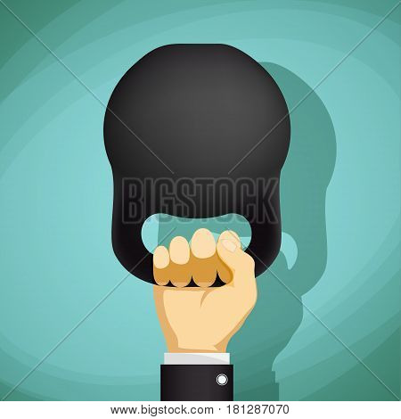 Man holding a kettlebell. Healthy lifestyle. Stock Vector cartoon illustration.