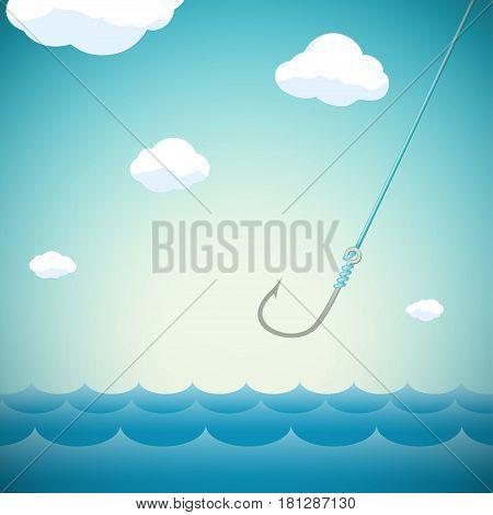 Seascape with fishing hook. Stock Vector cartoon illustration.
