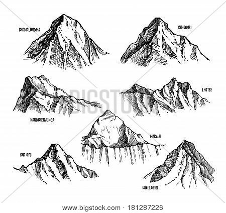 Highest mountains of Himalaya, Nepal hand drawn set vector illustration. Lhotse, Makalu, Kangchenjunga, Cho Oyu, Chomolungma, Dhaulagiri, Chogori pencil sketches isolated on white background