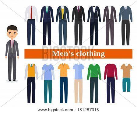 Men's clothing. Business clothes for men. Male character in flat design. Set garment. Vector illustration.