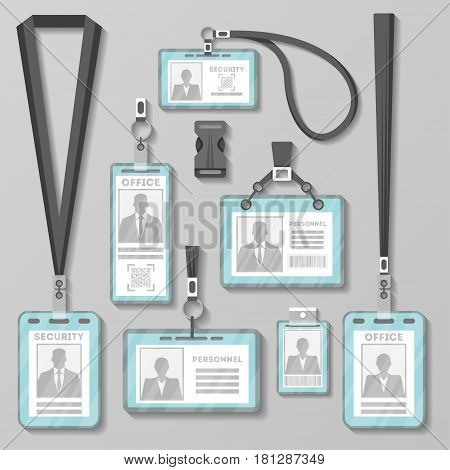 Identification card with lanyard set isolated vector illustration. Blank plastic access card, name tag holder with pin ribbon, corporativ cardkey, personal security badge, press event pass template.