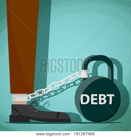Man chained to kettlebell with the word debt. Stock Vector cartoon illustration.