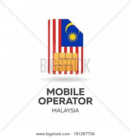 Malaysia Mobile Operator. Sim Card With Flag. Vector Illustration.