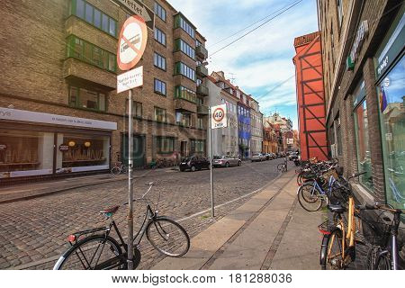 COPENHAGEN DENMARK - JUNE 15: Street in the city center of Copenhagen in 2012