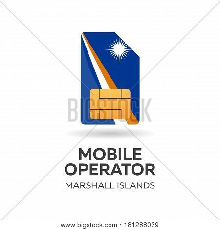Marshall Islands Mobile Operator. Sim Card With Flag. Vector Illustration.