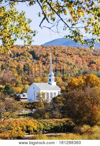 Beautiful church in the fall at Stowe in Vermont