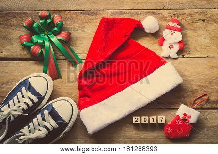Planning for travel for Christmas festival on wooden floor