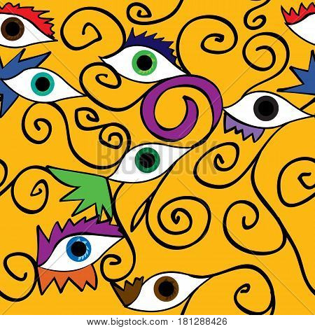 Abstract eye and eyelashes with spirals over yellow background;