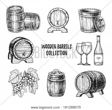 Wooden wine barrel with tap freehand pencil drawing set vector illustration. Bottle of wine, traditional wine making, wineglass and bunch of grapes isolated sketches. Alcoholic drink outline icons